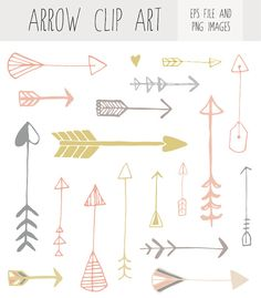 Hand Drawn Arrow Clip Art от FieldandFountain на Etsy
