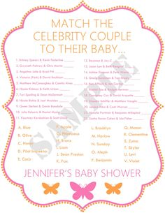 Celebrity Baby Shower Game