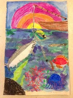 Miss Young's Art Room: 4th Grade Watercolor Resist Undersea Paintings