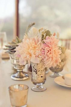 Extra Small Centerpiece. Dahlias and Dusty Miller.