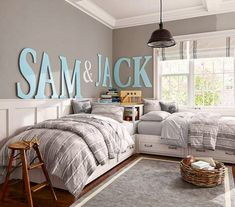 Boys guest room big letters, color, boy bedrooms, kid rooms, shared rooms, boy rooms, shared bedrooms, pottery barn, twin bed