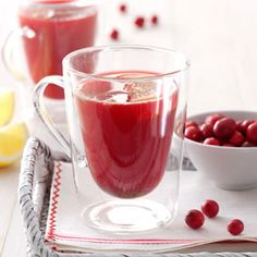 Hot Cranberry Drink Recipe from Taste of Home - Red-hot candies add a little spice to this rosy beverage that's perfect for holiday buffets or winter potlucks. Serve it hot or cold! Submitted by Ruth Hastings of Louisville, Illinois