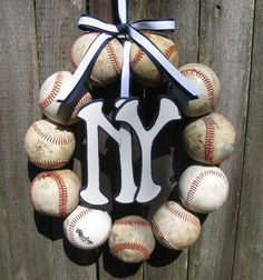 Baseball Love Wreath - With Two Letters or Numbers