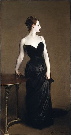 Madam X by John Singer Sargent, 1884.     The right strap was originally falling off her shoulder, but this was deemed too indecent, so he repainted it...