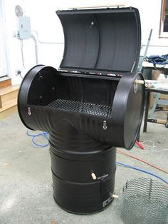 DIY 55 gallon drum smoker.