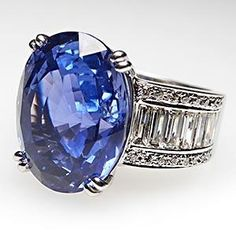 GIA Blue Sapphire & Diamond Cocktail Ring Solid 18K White Gold  $51,999.00