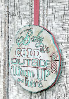 Wood slice winter painting with a May Arts Ribbon edge