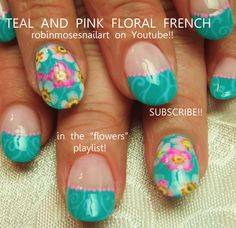 Nail-art by Robin Moses Pink and teal  http://www.youtube.com/watch?v=3BEsRhGjgmE