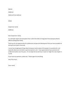 letter of resignation sample | Letter of Resignation More