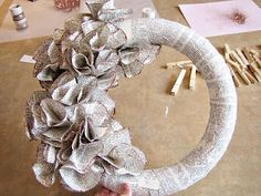 Embellished #newspaper wreath #DIY tutorial.