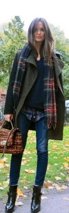 love this color coat with denim & plaid, autumn/winter 2013
