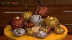 Glitter Pumpkin Tea Light Candle Holders #ClintonsCraftCorner #TheChew