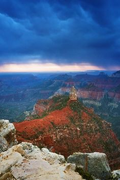 ✯ Dramatic clouds begin to develop just before sunrise over point imperial on the grand canyons north rim