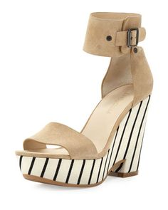Striped-Wedge Ankle-Wrap Sandal by See by Chloe at Bergdorf Goodman.