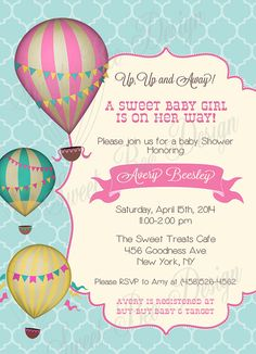 hot air balloon baby shower, hot air balloon shower, balloon babi, shower invitations, hot balloon baby invitation