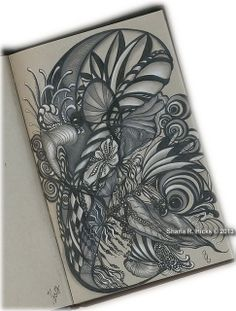 Botanicals in Strathmore Gray Toned Journal by Sharla R. Hicks, Certified Zentangle Teacher CZT | Flickr - Photo Sharing!