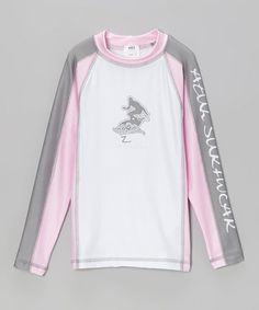 This Pink & Gray Long-Sleeve Rashguard - Infant, Toddler & Girls is perfect! #zulilyfinds