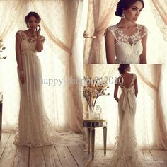 Sexy A-line Lace Bridal Gowns Sheer Lace Crew Neck Backless Empire Summer Beach Vintage Wedding Dresses with Appliques Sash Bow