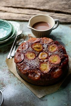 upside down cake with plums and poppy seeds