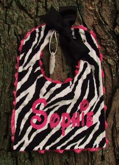 "Personalized Adjustable Baby Bib Zebra Hot Pink Minky Swirl "" Custom Made"""