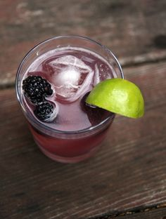 Gin Cocktail With Blackberries, Cucumber And Basil Syrup