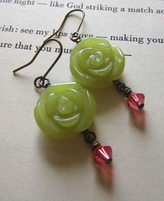 Olive Green Earrings Jade Earrings Carved Flower by puffluna on Etsy