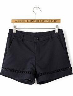 Black Mid Waist Hollow Straight Shorts - Sheinside.com