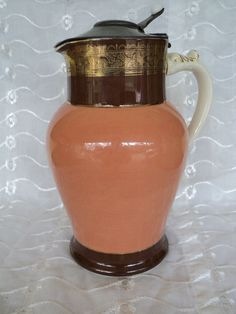 ANTIQUE PORCELAIN SYRUP PITCHER PEWETER METAL LID FLORAL 19th CENTURY PEACH GOLD