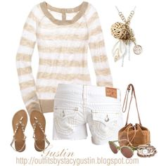 Summer stripes. Created by Stacy Gustin on Polyvore stephlynn77 summer styles, summer fashion, casual summer, coastal style, summer outfits, springsumm fashion, night outfits, neutral, summer stripe