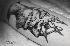 woodcut tattoo - love the cloud lines