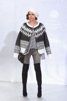 Obsessed with Miroslava Duma's thigh high boots at Chanel Haute Couture