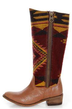 Steve Madden Graced Aztec Multi Southwest Print Cowboy Boots
