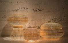 Lamps made with wicker weaving techniques. #Lamps #InteriorDesign #homedecor #designjunction #lighting