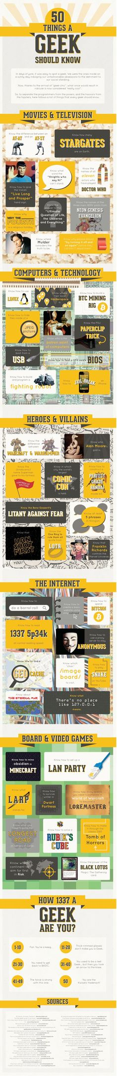 The Ultimate Geek Test: 50 Things Every Nerd Should Know  - http://dashburst.com/infographic/ultimate-geek-test/