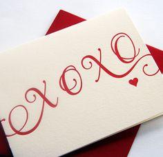 Letterpress card - XOXO, $4