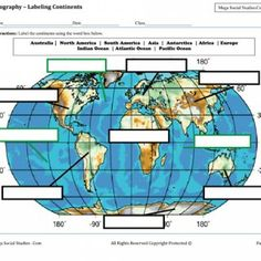Labeling Continents and Oceans Worksheet (C2, W1)