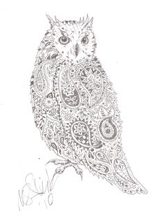 Owl Tattoo Outline | Pin Four Mad Drawings On One The Skull Is Represented Crazy Tribals on ...