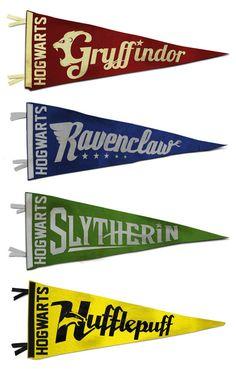 vintage hogwarts pennant collection