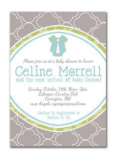 {Celine} Baby Shower Invitation. Little Guy In A Tie Onesie. Gray Blue Green by digibuddhaPaperie, $15.00  http://www.etsy.com/listing/79857268/baby-shower-invitation-boy-baby-shower?ref=af_shop_favitem