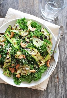 Kale Salad with Blue Cheese and Grilled Zucchini from @Bevvvvverly Weidner