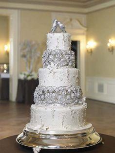 Bling Wedding Cake designed by Bonnie Gordon bird white, accent cake, silver cake, cake design, anniversary cakes, winter wedding cakes, bird winter, white wedding cakes