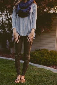 Gray shirt, olive pants