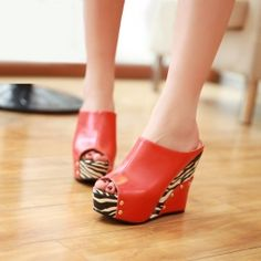 Red Platform zebra designer rivet wedges women slipper (3 Colors Avail)