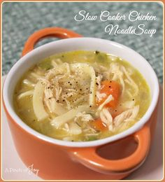 Slow Cooker Chicken Noodle Soup -- A Pinch of Joy chicken noodle soups, crockpot, noodl soup