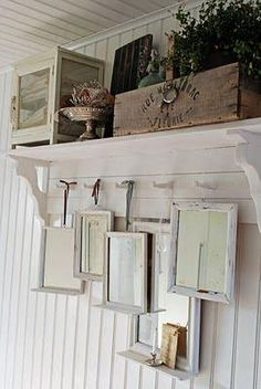 Love this ... peg rack shelf w/mirrors - could be pictures