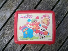vintage 80s lunchbox Popples cartoon playing football