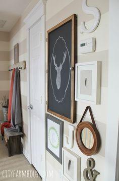 City Farmhouse Cream & Beige Horizintal Stripes in Hallway & Deer Slhouette Gallery Wall