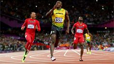 Usain Bolt of Jamaica celebrates winning gold in the men's 100m sprint on August 5 at the London 2012 Olympic Games