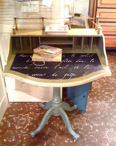 Our Springtime in Paris typography stencil strikes again on a lovely writing desk by @Denise Cerro