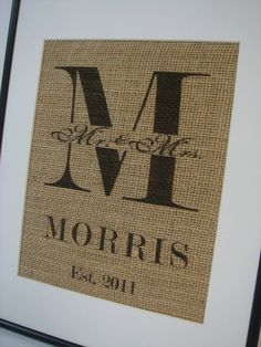 Personalized Name and Est. date  Burlap Wedding Shower Anniversary Gift